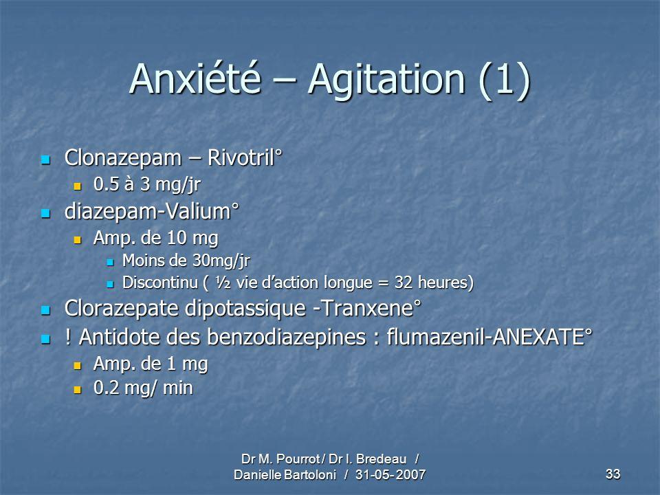 Dr M. Pourrot / Dr I. Bredeau / Danielle Bartoloni / 31-05- 200733 Anxiété – Agitation (1) Clonazepam – Rivotril° Clonazepam – Rivotril° 0.5 à 3 mg/jr