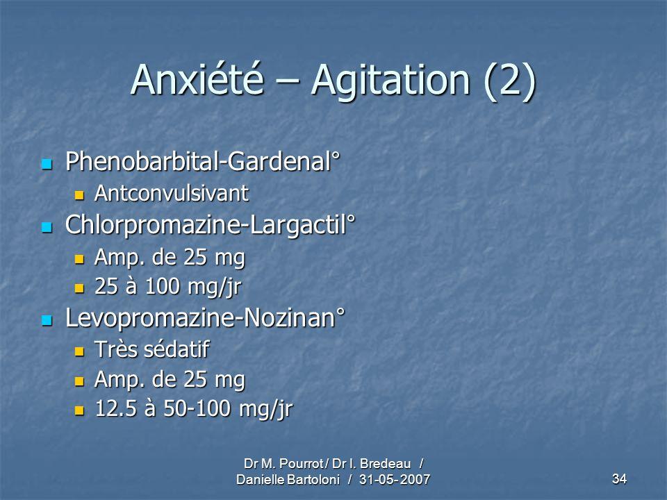 Dr M. Pourrot / Dr I. Bredeau / Danielle Bartoloni / 31-05- 200734 Anxiété – Agitation (2) Phenobarbital-Gardenal° Phenobarbital-Gardenal° Antconvulsi
