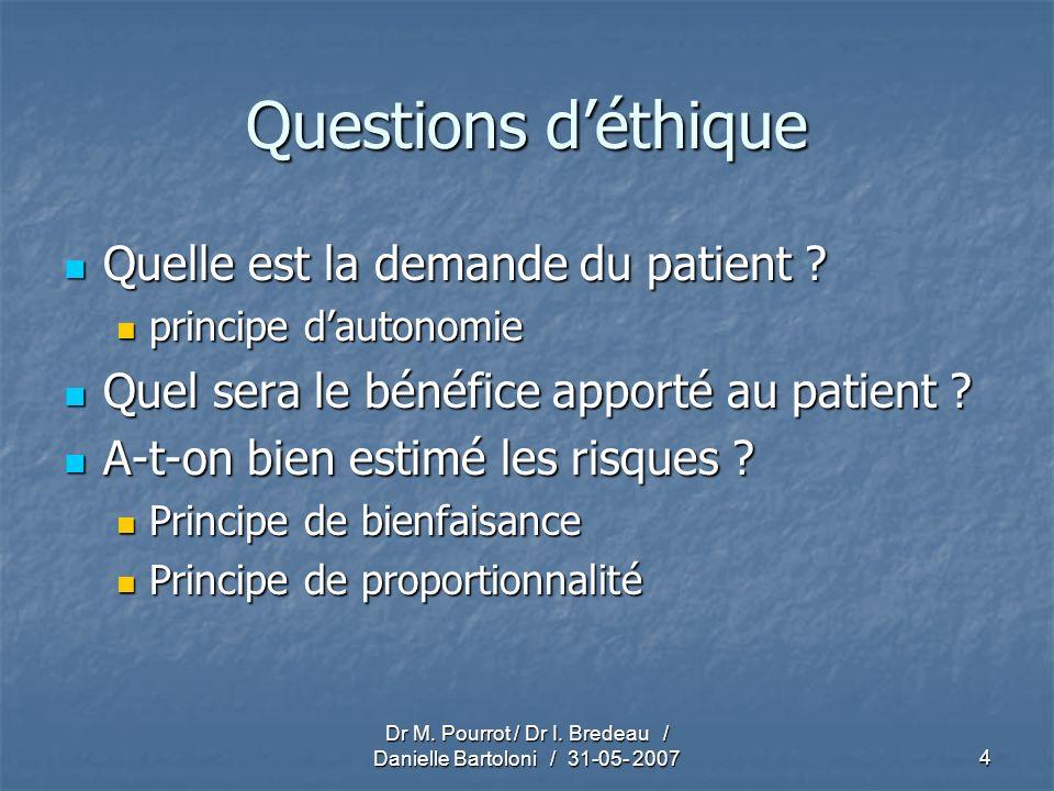 Dr M. Pourrot / Dr I. Bredeau / Danielle Bartoloni / 31-05- 20074 Questions déthique Quelle est la demande du patient ? Quelle est la demande du patie