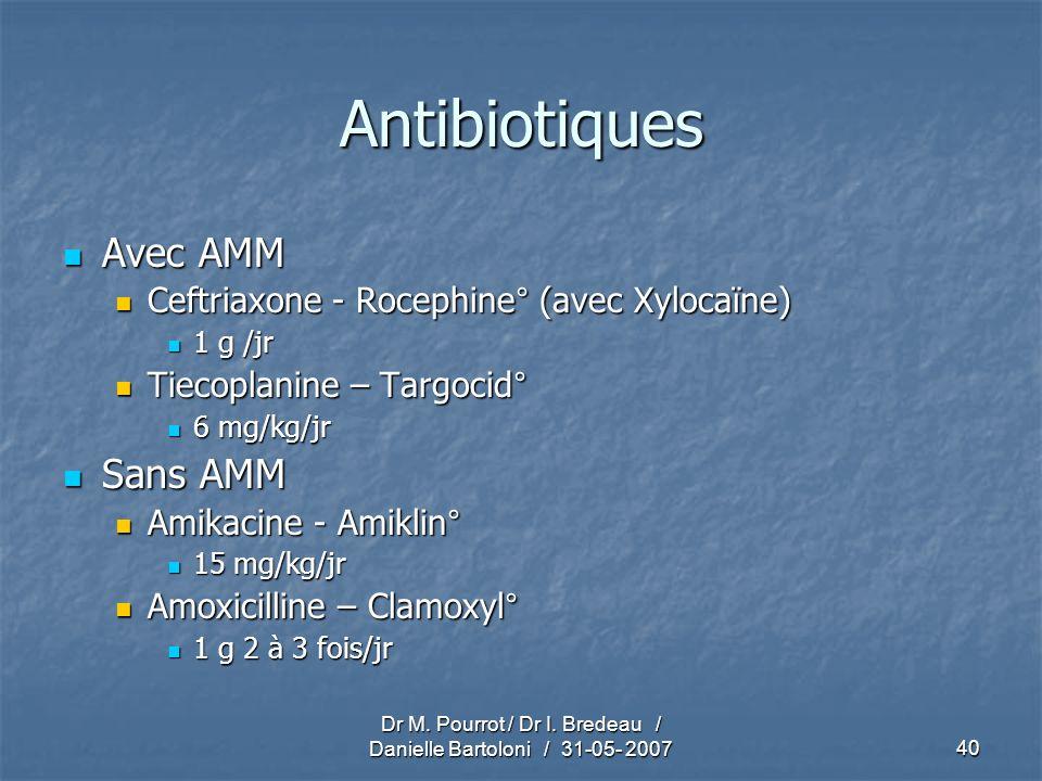 Dr M. Pourrot / Dr I. Bredeau / Danielle Bartoloni / 31-05- 200740 Antibiotiques Avec AMM Avec AMM Ceftriaxone - Rocephine° (avec Xylocaïne) Ceftriaxo