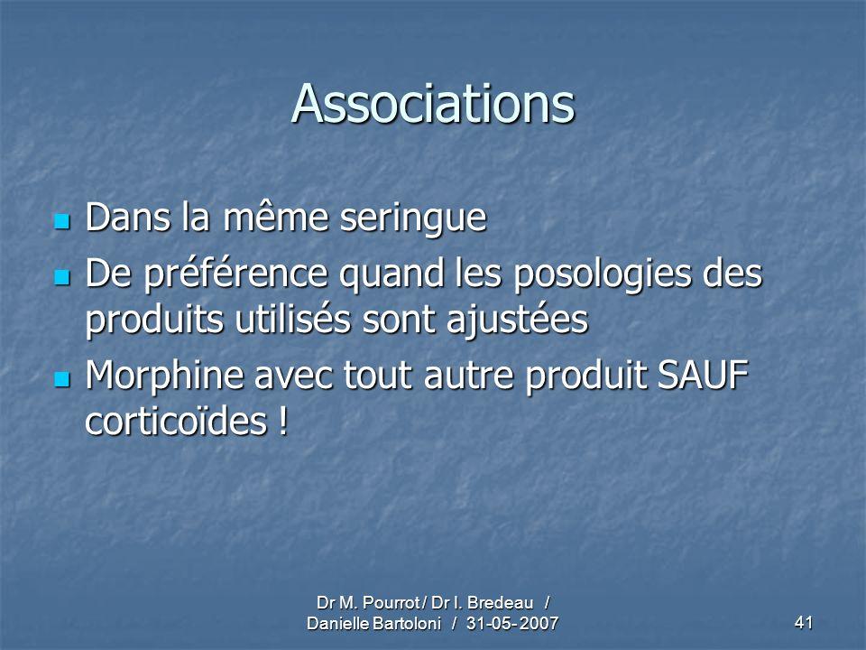 Dr M. Pourrot / Dr I. Bredeau / Danielle Bartoloni / 31-05- 200741 Associations Dans la même seringue Dans la même seringue De préférence quand les po