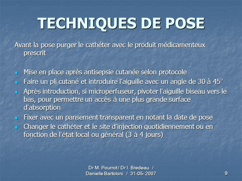 Dr M. Pourrot / Dr I. Bredeau / Danielle Bartoloni / 31-05- 20079 TECHNIQUES DE POSE Avant la pose purger le cathéter avec le produit médicamenteux pr