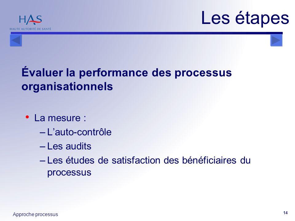 Approche processus 14 Évaluer la performance des processus organisationnels La mesure : –Lauto-contrôle –Les audits –Les études de satisfaction des bé