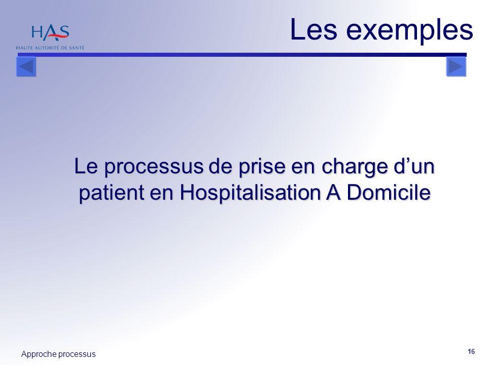 Approche processus 16 Les exemples Le processus de prise en charge dun patient en Hospitalisation A Domicile