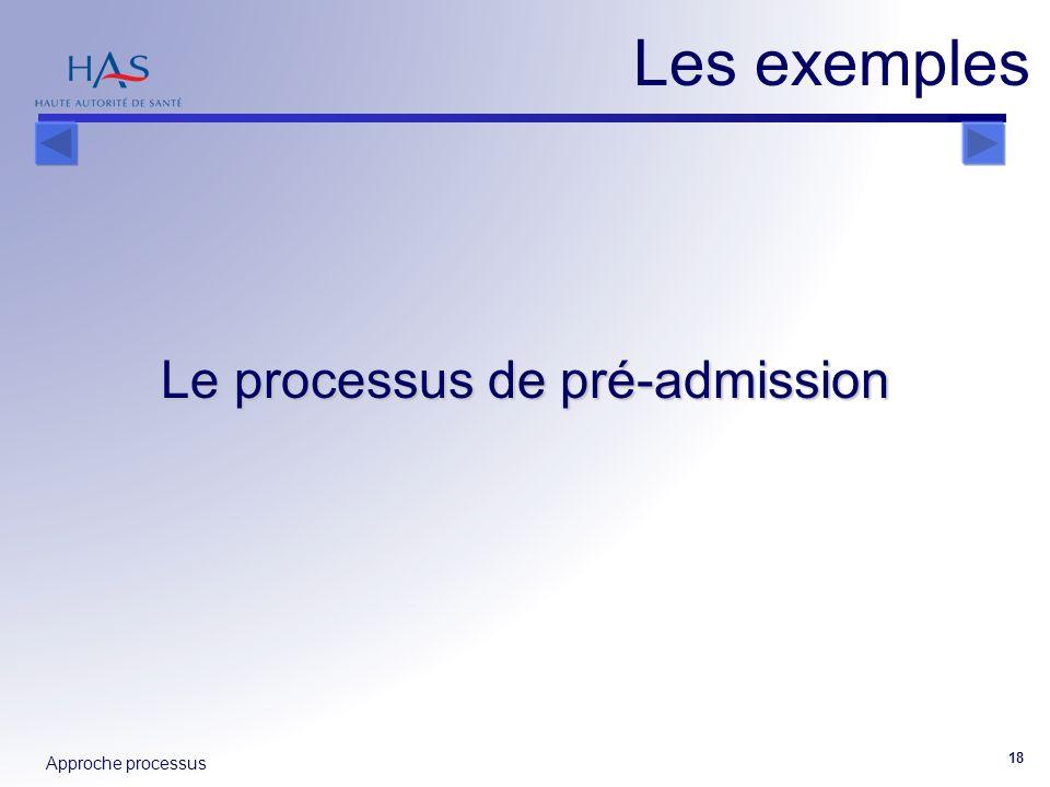 Approche processus 18 Le processus de pré-admission Les exemples