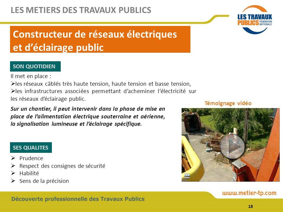 Il met en place : les réseaux câblés très haute tension, haute tension et basse tension, les infrastructures associées permettant dacheminer lélectricité sur les réseaux déclairage public.