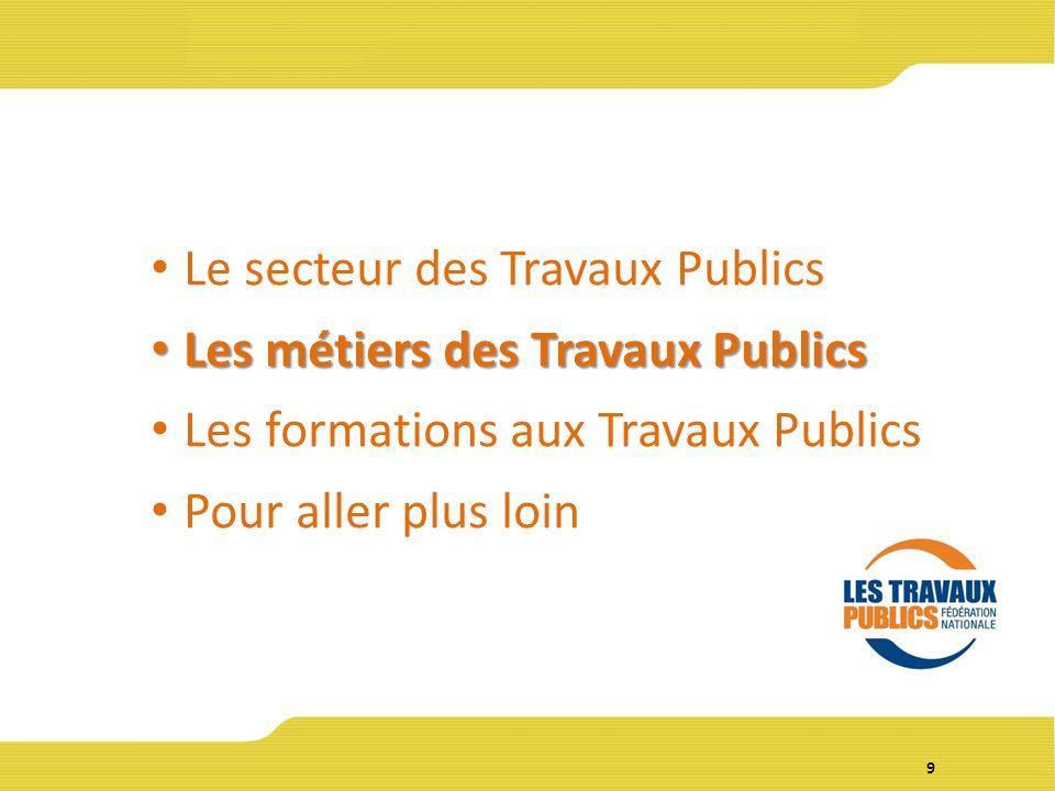 9 Le secteur des Travaux Publics Les métiers des Travaux Publics Les métiers des Travaux Publics Les formations aux Travaux Publics Pour aller plus loin