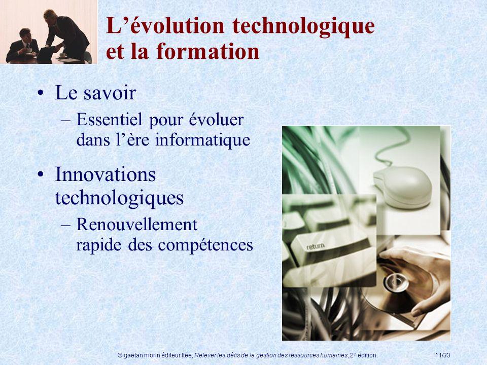 © gaëtan morin éditeur ltée, Relever les défis de la gestion des ressources humaines, 2 e édition.11/33 Lévolution technologique et la formation Le sa