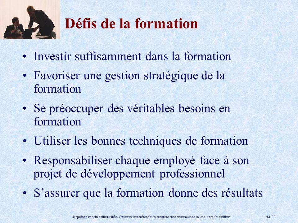 © gaëtan morin éditeur ltée, Relever les défis de la gestion des ressources humaines, 2 e édition.14/33 Défis de la formation Investir suffisamment da