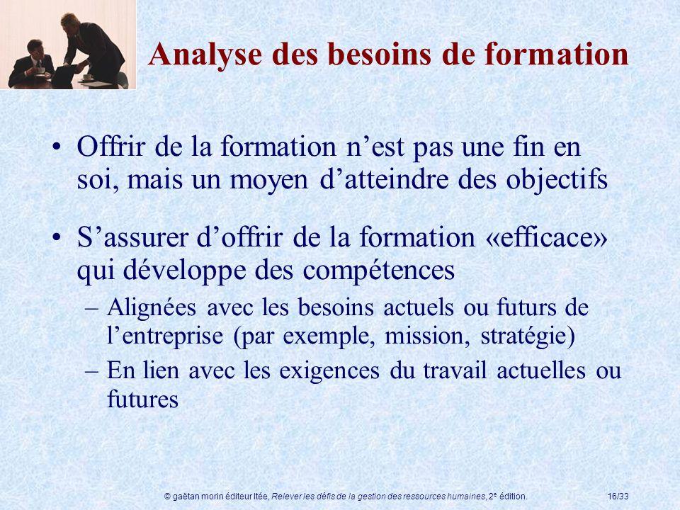 © gaëtan morin éditeur ltée, Relever les défis de la gestion des ressources humaines, 2 e édition.16/33 Analyse des besoins de formation Offrir de la