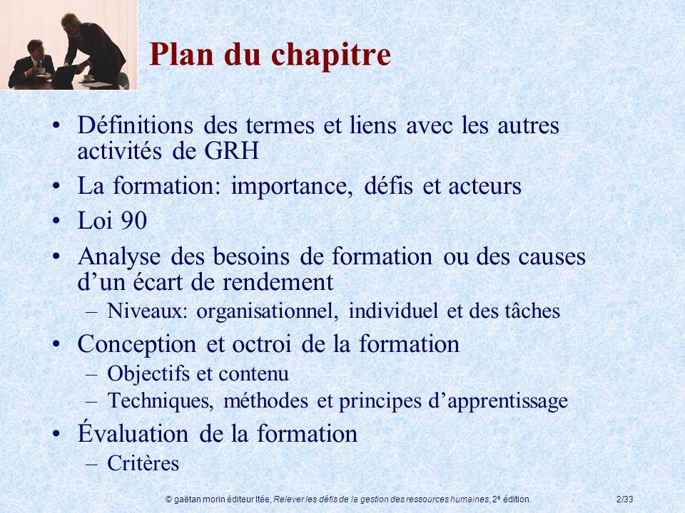 © gaëtan morin éditeur ltée, Relever les défis de la gestion des ressources humaines, 2 e édition.2/33 Plan du chapitre Définitions des termes et lien