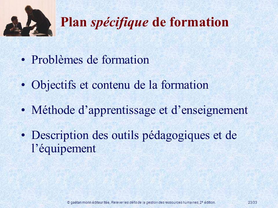 © gaëtan morin éditeur ltée, Relever les défis de la gestion des ressources humaines, 2 e édition.23/33 Plan spécifique de formation Problèmes de form