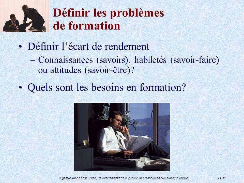 © gaëtan morin éditeur ltée, Relever les défis de la gestion des ressources humaines, 2 e édition.24/33 Définir les problèmes de formation Définir léc