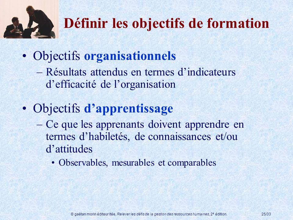 © gaëtan morin éditeur ltée, Relever les défis de la gestion des ressources humaines, 2 e édition.25/33 Définir les objectifs de formation Objectifs o