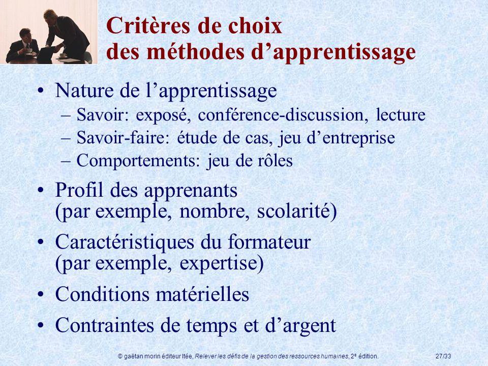 © gaëtan morin éditeur ltée, Relever les défis de la gestion des ressources humaines, 2 e édition.27/33 Critères de choix des méthodes dapprentissage