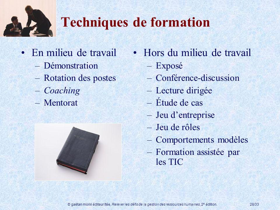 © gaëtan morin éditeur ltée, Relever les défis de la gestion des ressources humaines, 2 e édition.28/33 Techniques de formation En milieu de travail –