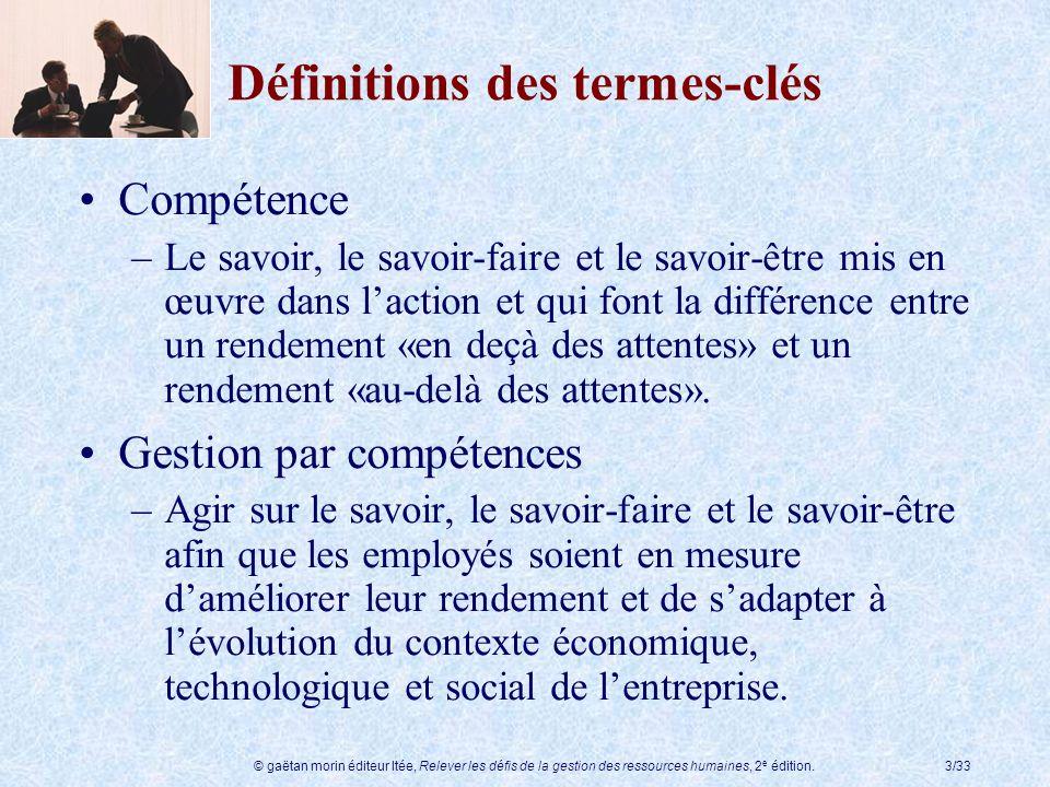 © gaëtan morin éditeur ltée, Relever les défis de la gestion des ressources humaines, 2 e édition.3/33 Définitions des termes-clés Compétence –Le savo