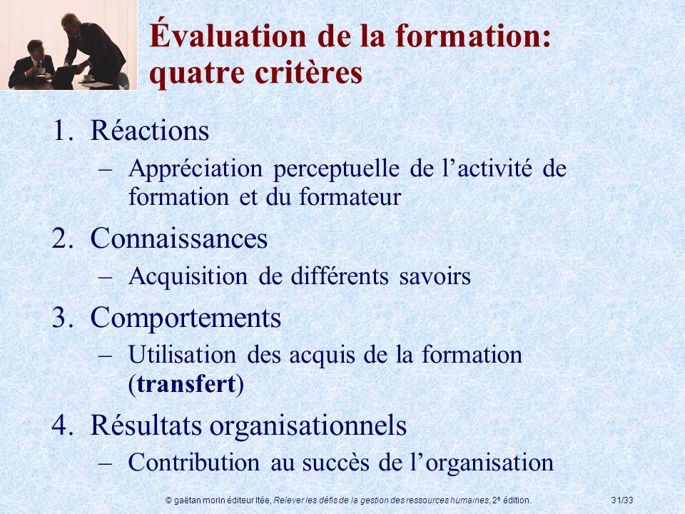 © gaëtan morin éditeur ltée, Relever les défis de la gestion des ressources humaines, 2 e édition.31/33 Évaluation de la formation: quatre critères 1.