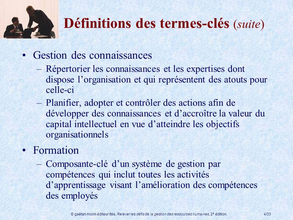 © gaëtan morin éditeur ltée, Relever les défis de la gestion des ressources humaines, 2 e édition.4/33 Définitions des termes-clés (suite) Gestion des