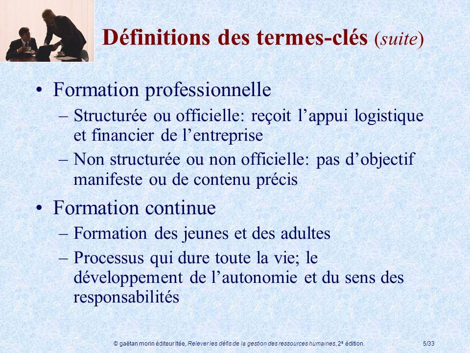 © gaëtan morin éditeur ltée, Relever les défis de la gestion des ressources humaines, 2 e édition.5/33 Définitions des termes-clés (suite) Formation p