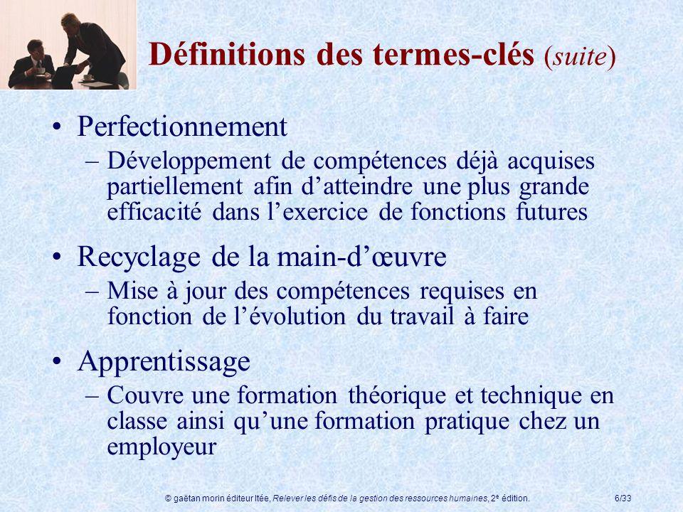 © gaëtan morin éditeur ltée, Relever les défis de la gestion des ressources humaines, 2 e édition.6/33 Définitions des termes-clés (suite) Perfectionn