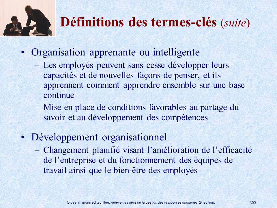 © gaëtan morin éditeur ltée, Relever les défis de la gestion des ressources humaines, 2 e édition.7/33 Définitions des termes-clés (suite) Organisatio