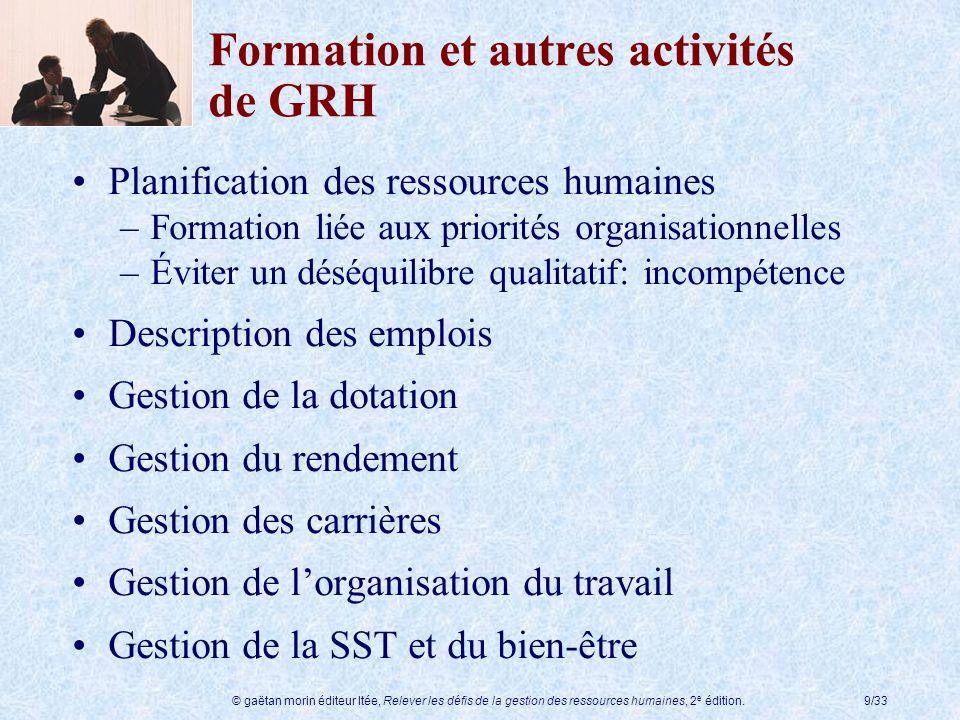 © gaëtan morin éditeur ltée, Relever les défis de la gestion des ressources humaines, 2 e édition.9/33 Formation et autres activités de GRH Planificat