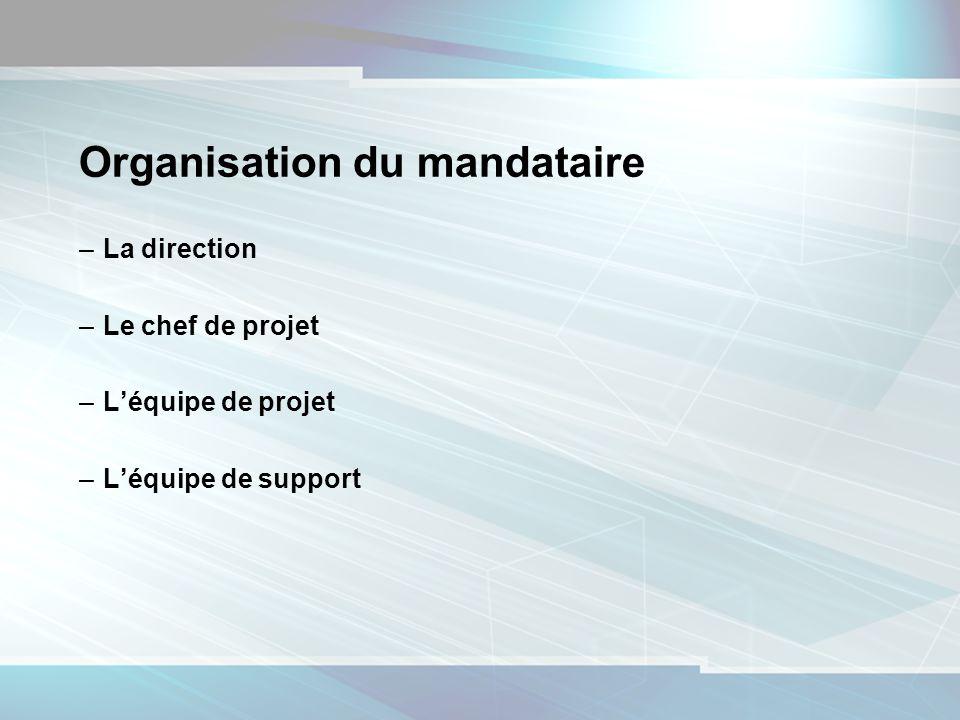 10 Organisation du mandataire –La direction –Le chef de projet –Léquipe de projet –Léquipe de support