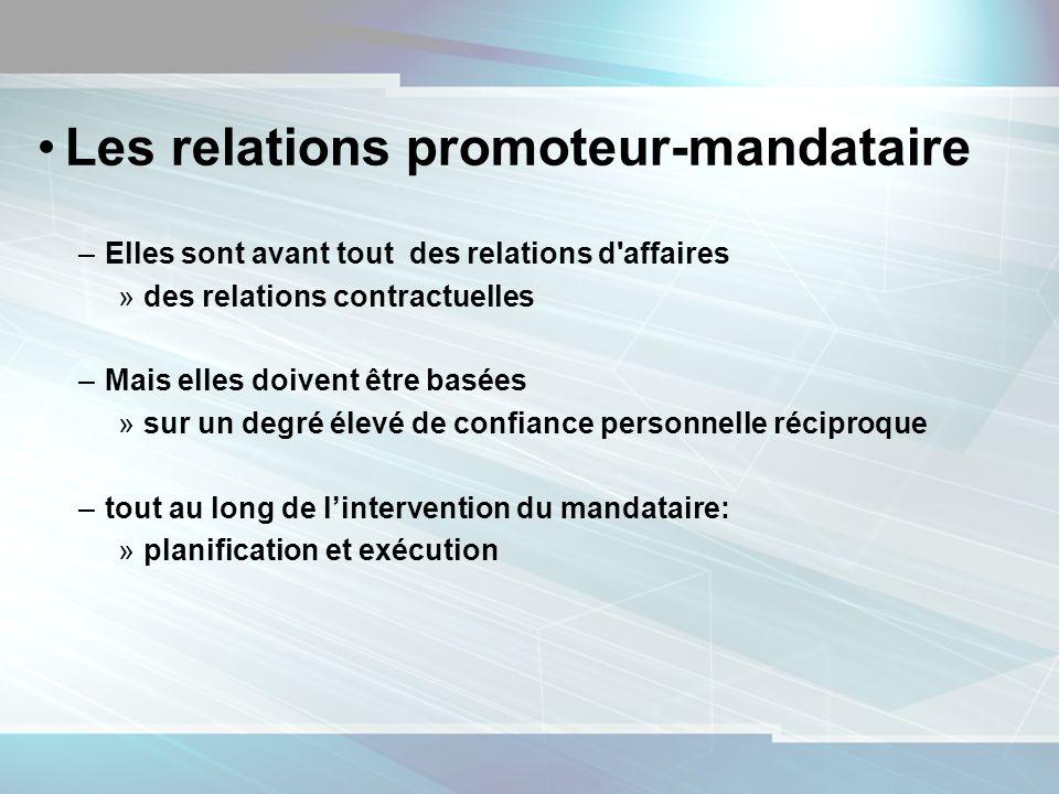 11 Les relations promoteur-mandataire –Elles sont avant tout des relations d'affaires »des relations contractuelles –Mais elles doivent être basées »s