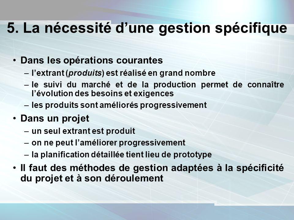 16 5. La nécessité dune gestion spécifique Dans les opérations courantes –lextrant (produits) est réalisé en grand nombre –le suivi du marché et de la