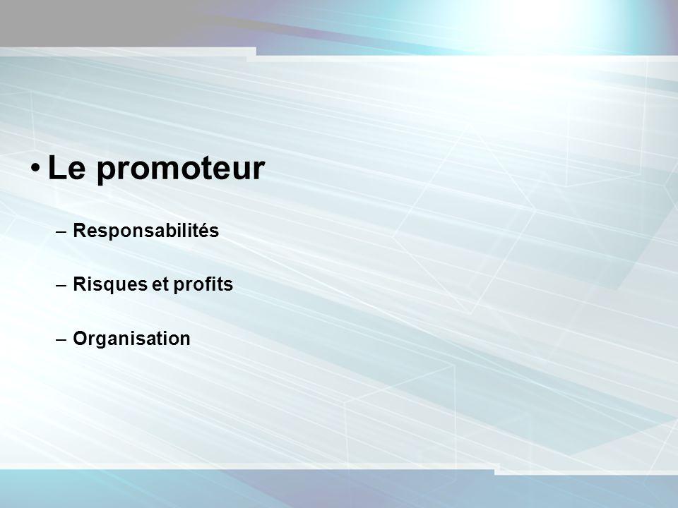 5 Le promoteur –Responsabilités –Risques et profits –Organisation