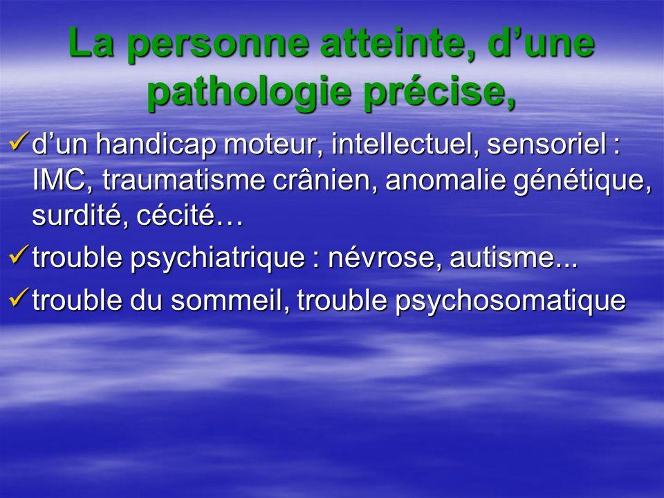 La personne atteinte, dune pathologie précise, dun handicap moteur, intellectuel, sensoriel : IMC, traumatisme crânien, anomalie génétique, surdité, cécité… dun handicap moteur, intellectuel, sensoriel : IMC, traumatisme crânien, anomalie génétique, surdité, cécité… trouble psychiatrique : névrose, autisme...