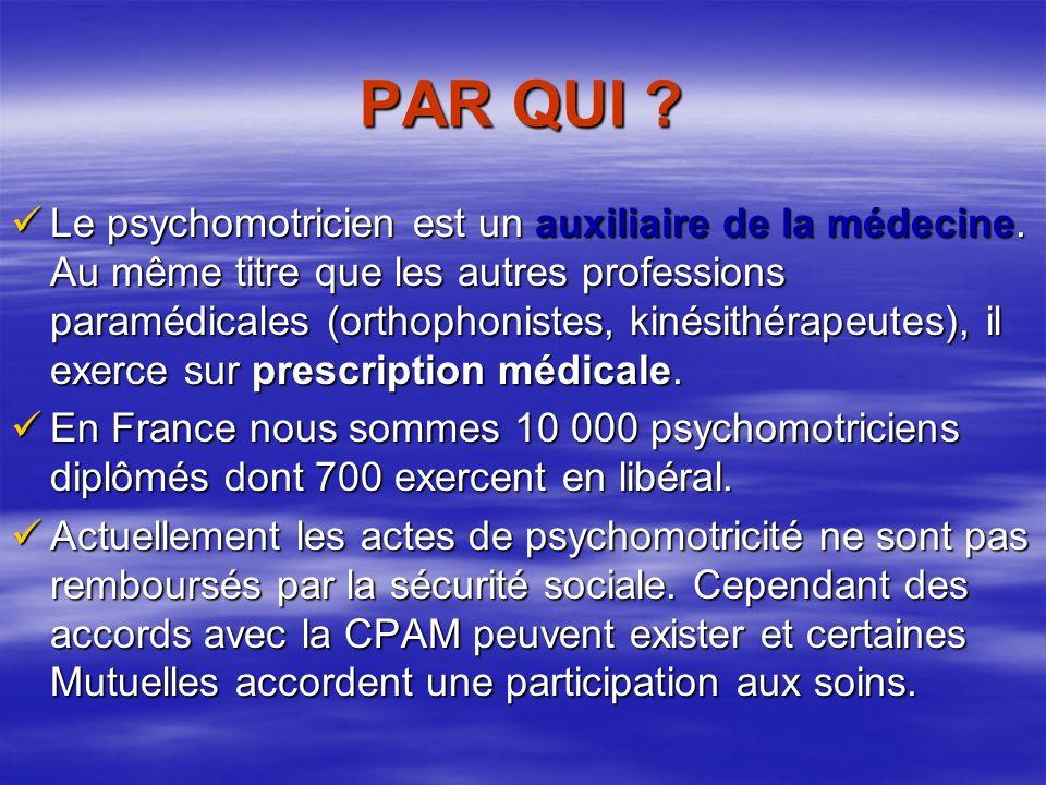 PAR QUI .Le psychomotricien est un auxiliaire de la médecine.