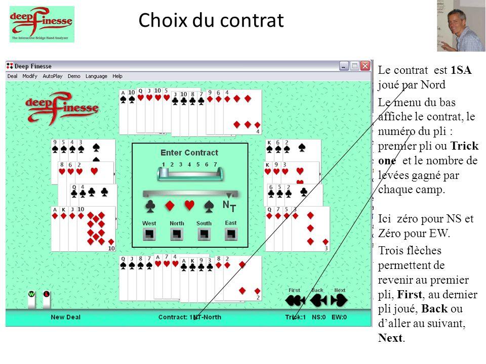 Choix du contrat Le contrat est 1SA joué par Nord Le menu du bas affiche le contrat, le numéro du pli : premier pli ou Trick one et le nombre de levées gagné par chaque camp.