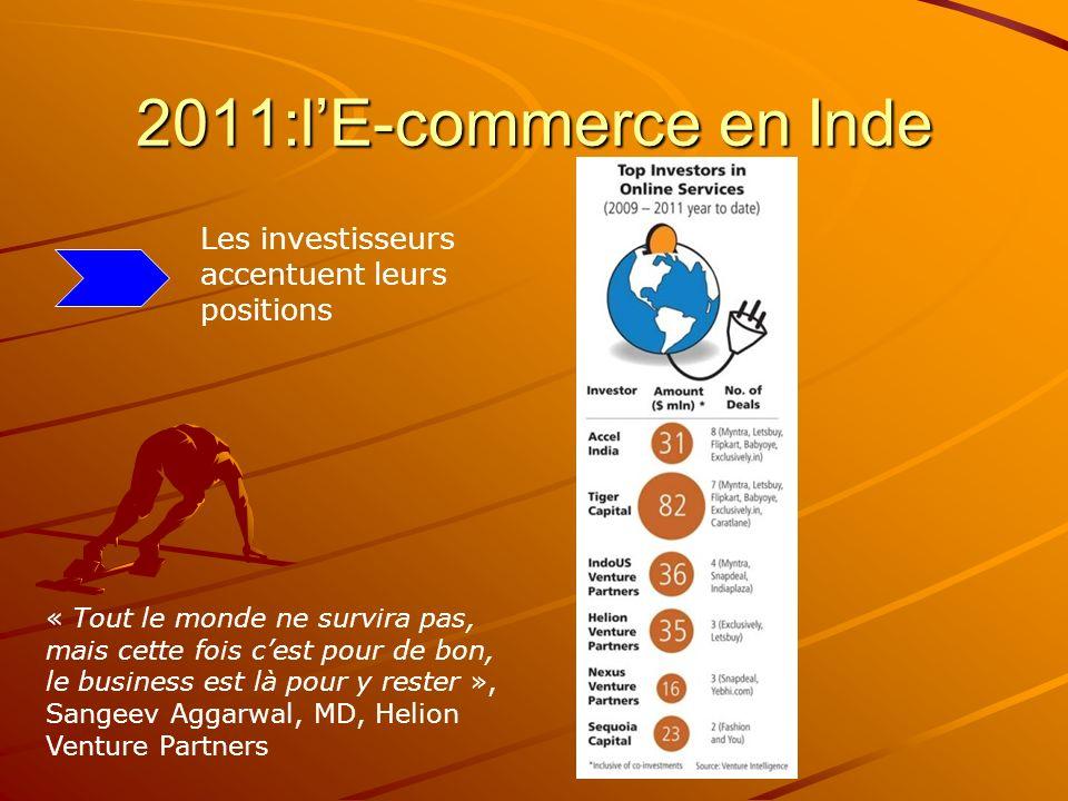 2011:lE-commerce en Inde Les investisseurs accentuent leurs positions « Tout le monde ne survira pas, mais cette fois cest pour de bon, le business est là pour y rester », Sangeev Aggarwal, MD, Helion Venture Partners