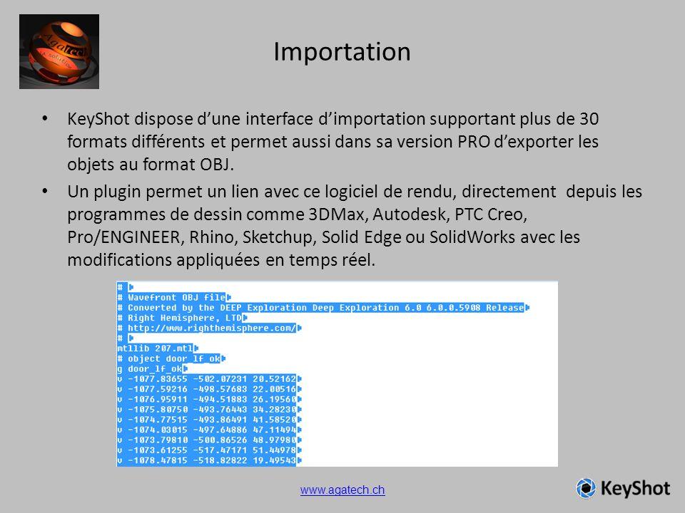 Importation KeyShot dispose dune interface dimportation supportant plus de 30 formats différents et permet aussi dans sa version PRO dexporter les obj