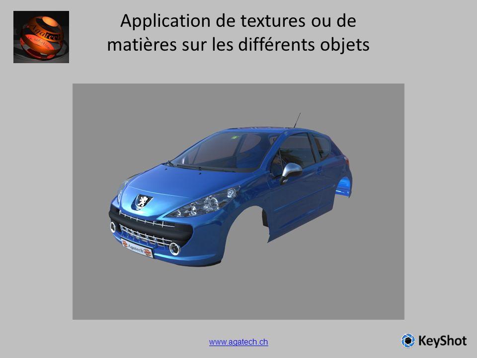 Application de textures ou de matières sur les différents objets www.agatech.ch