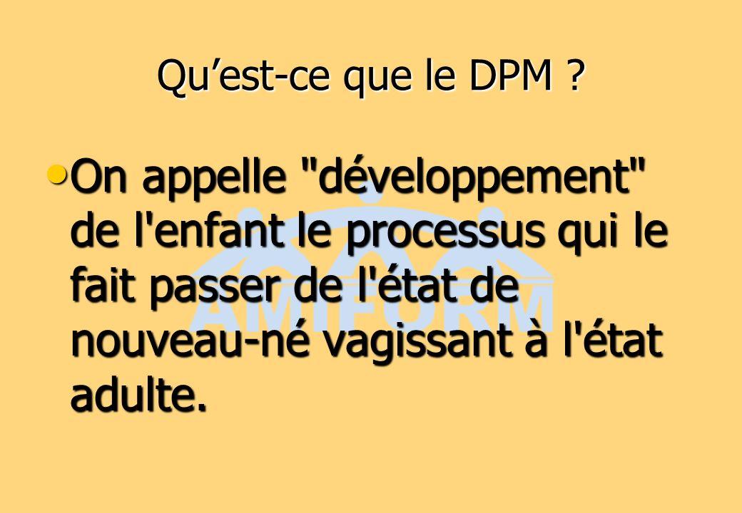 Les étapes du DPM On a coutume de parler des étapes du développement.