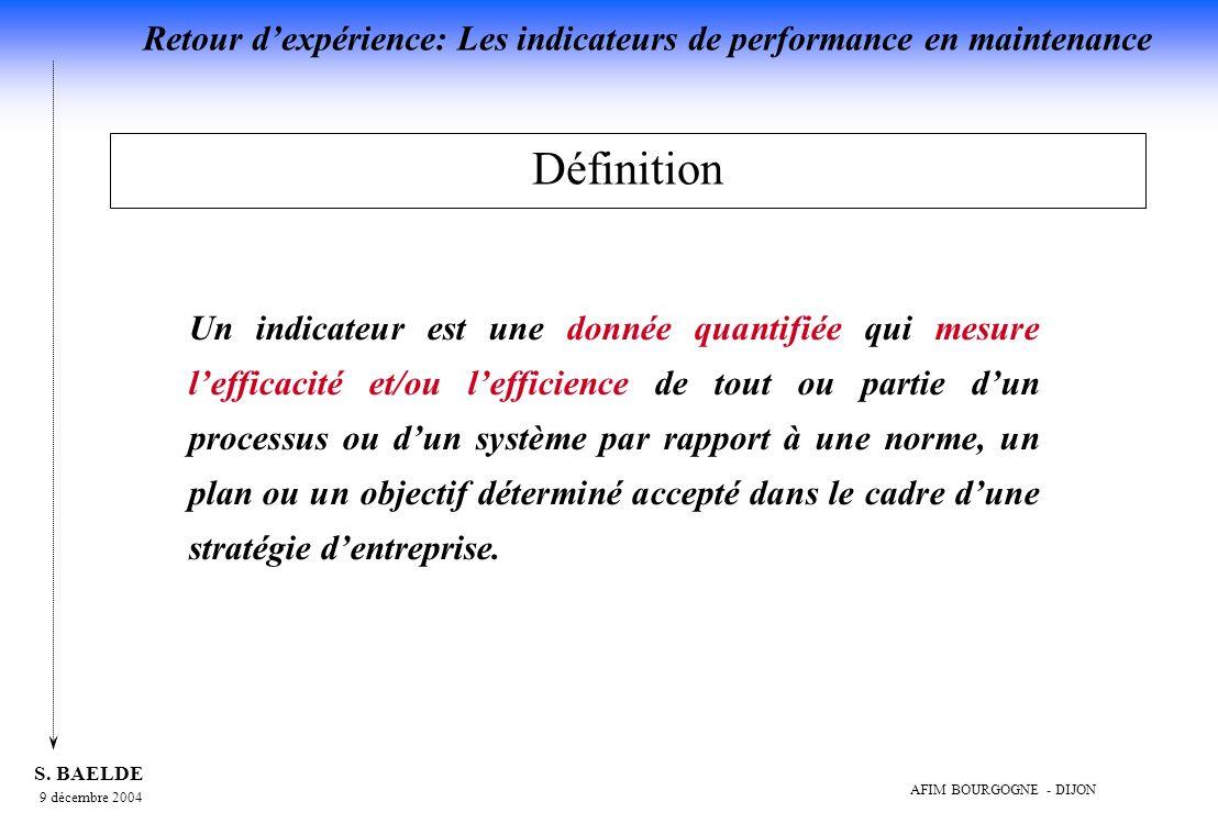 Retour dexpérience: Les indicateurs de performance en maintenance 9 décembre 2004 S.