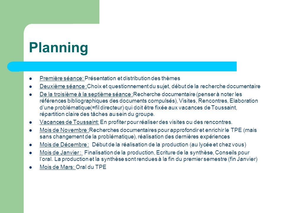 Planning Première séance: Présentation et distribution des thèmes Deuxième séance :Choix et questionnement du sujet, début de la recherche documentair