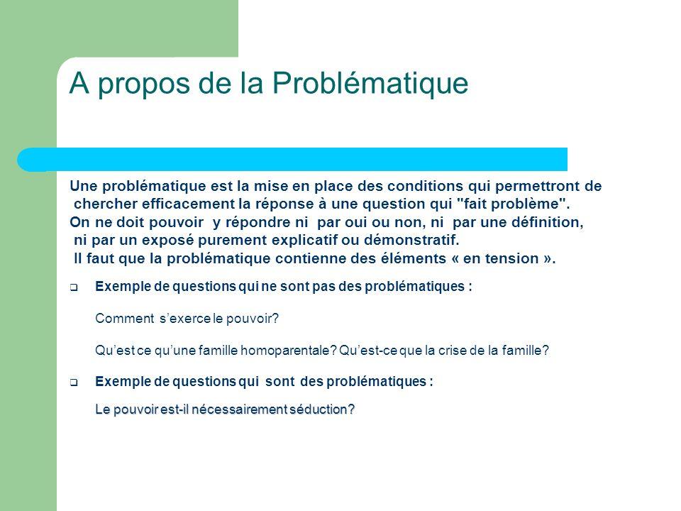 A propos de la Problématique Une problématique est la mise en place des conditions qui permettront de chercher efficacement la réponse à une question