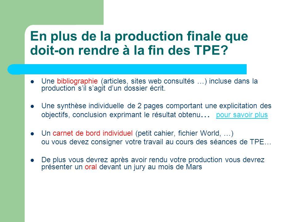 En plus de la production finale que doit-on rendre à la fin des TPE? Une bibliographie (articles, sites web consultés …) incluse dans la production si