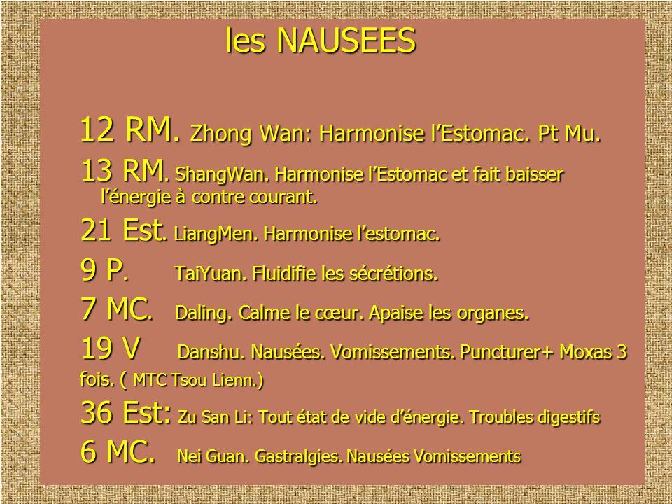 les NAUSEES les NAUSEES 12 RM. Zhong Wan: Harmonise lEstomac. Pt Mu. 12 RM. Zhong Wan: Harmonise lEstomac. Pt Mu. 13 RM. ShangWan. Harmonise lEstomac