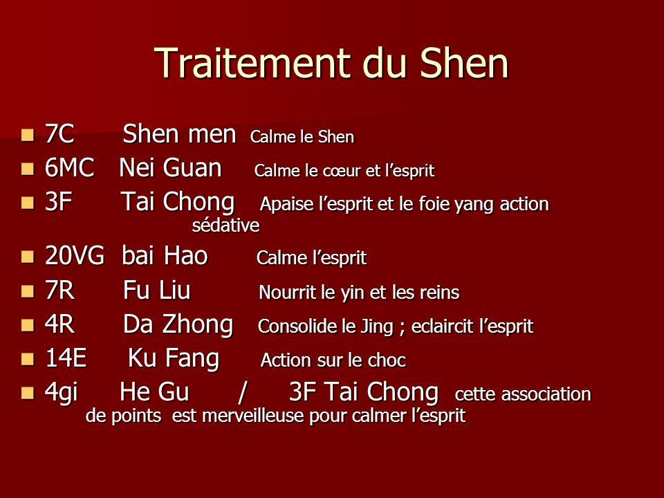 Traitement du Shen 7C Shen men Calme le Shen 7C Shen men Calme le Shen 6MC Nei Guan Calme le cœur et lesprit 6MC Nei Guan Calme le cœur et lesprit 3F