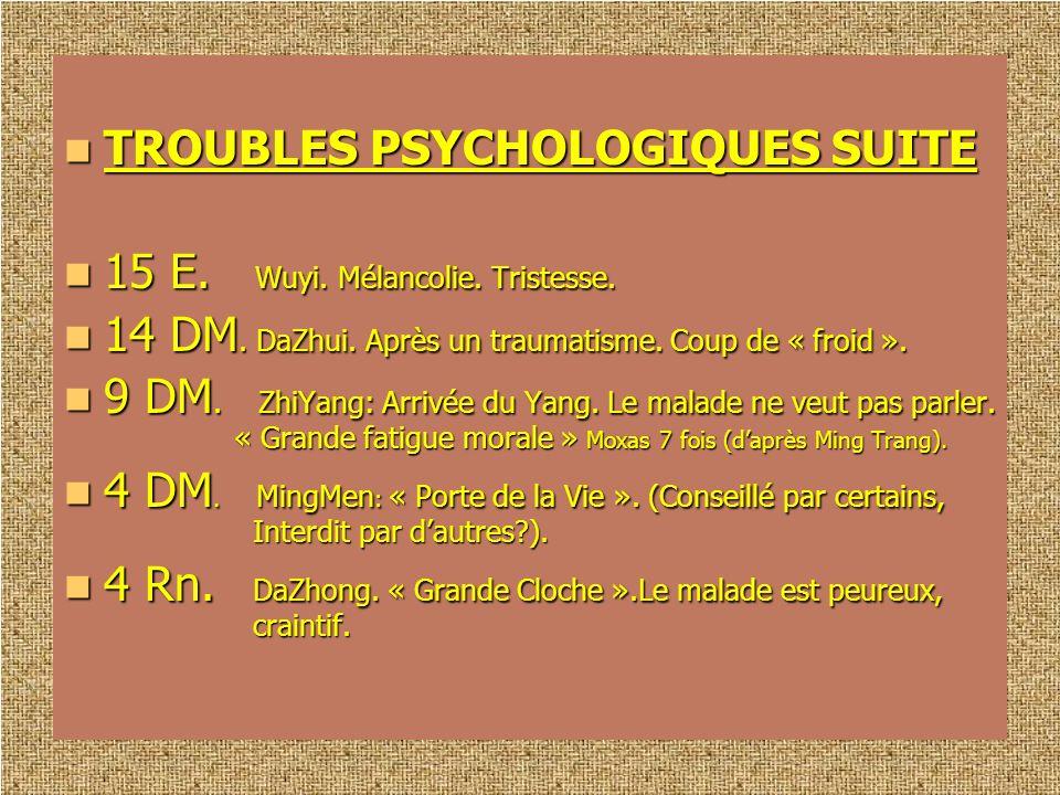 TROUBLES PSYCHOLOGIQUES SUITE TROUBLES PSYCHOLOGIQUES SUITE 15 E. Wuyi. Mélancolie. Tristesse. 15 E. Wuyi. Mélancolie. Tristesse. 14 DM. DaZhui. Après