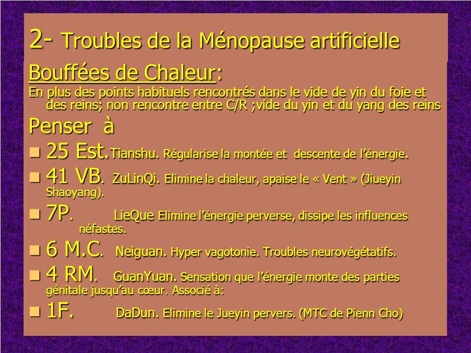 2- Troubles de la Ménopause artificielle Bouffées de Chaleur: En plus des points habituels rencontrés dans le vide de yin du foie et des reins; non re