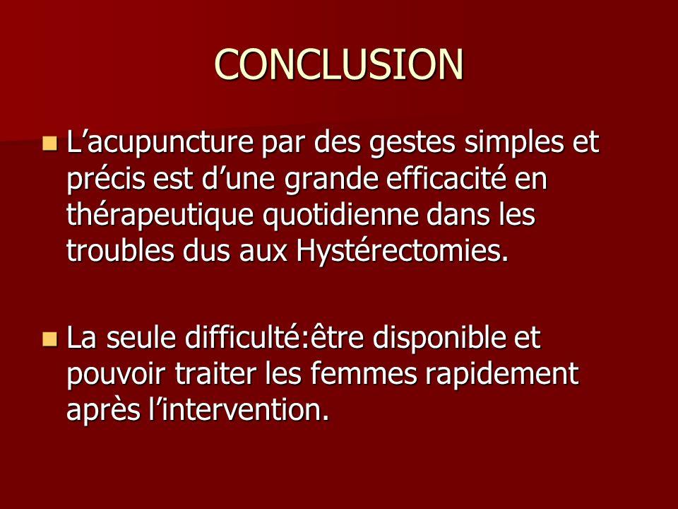 CONCLUSION Lacupuncture par des gestes simples et précis est dune grande efficacité en thérapeutique quotidienne dans les troubles dus aux Hystérectom
