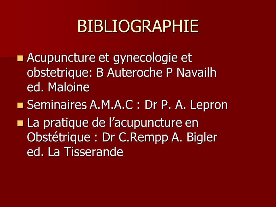 BIBLIOGRAPHIE Acupuncture et gynecologie et obstetrique: B Auteroche P Navailh ed. Maloine Acupuncture et gynecologie et obstetrique: B Auteroche P Na