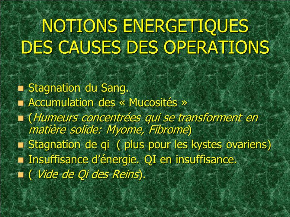 NOTIONS ENERGETIQUES DES CAUSES DES OPERATIONS Stagnation du Sang. Stagnation du Sang. Accumulation des « Mucosités » Accumulation des « Mucosités » (