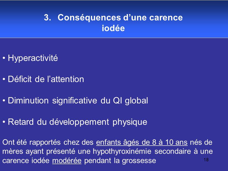 18 3. Conséquences dune carence iodée Hyperactivité Déficit de lattention Diminution significative du QI global Retard du développement physique Ont é